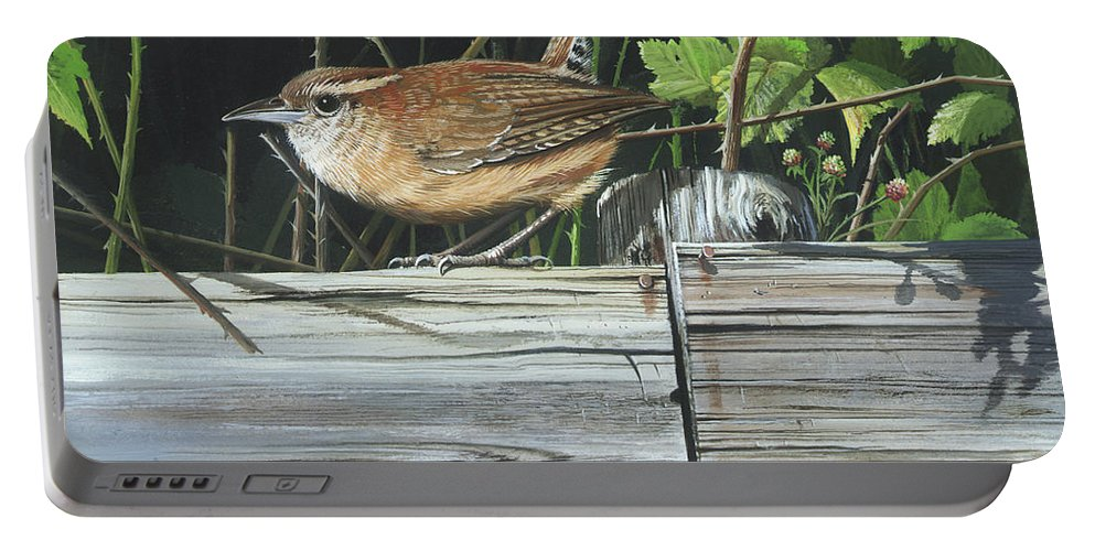Carolina Wren Portable Battery Charger featuring the painting Carolina Wren by Mike Brown