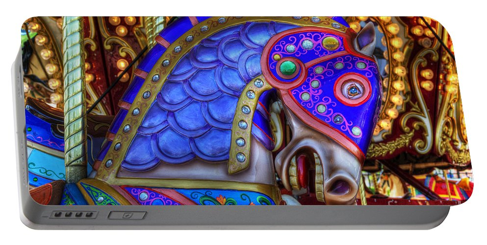 Carousel Portable Battery Charger featuring the photograph Carousel Beauty Blue Charger by Bob Christopher