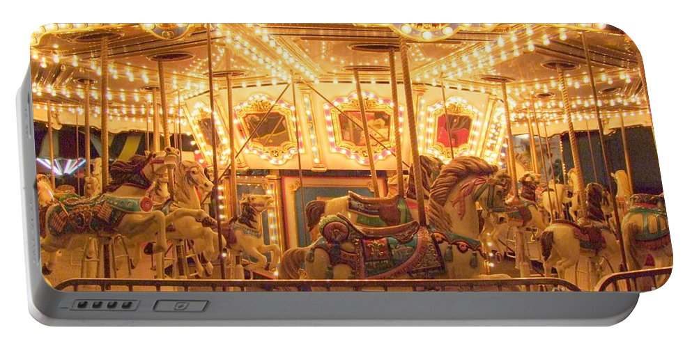 Carousel Night Lights Portable Battery Charger featuring the photograph Carousel Night Lights by Mary Deal