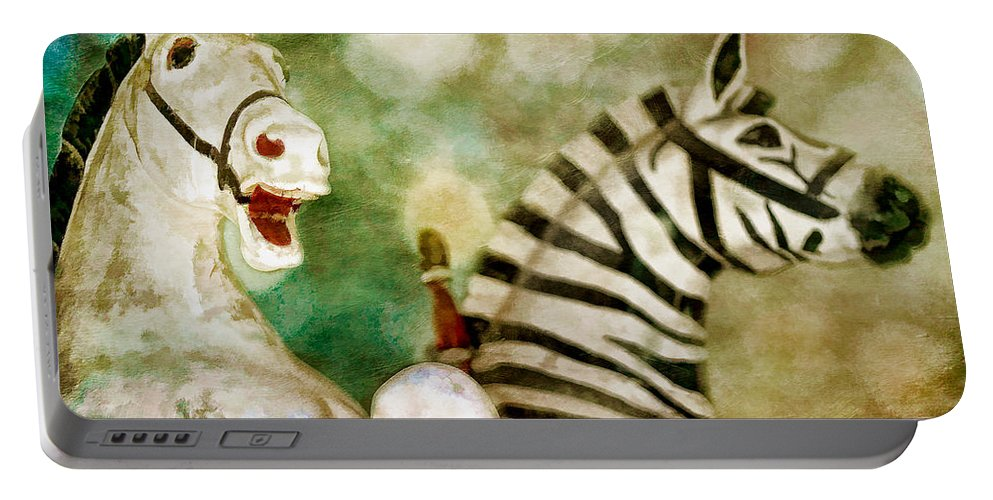 Carnival Portable Battery Charger featuring the photograph Carousel Ponies by David and Carol Kelly