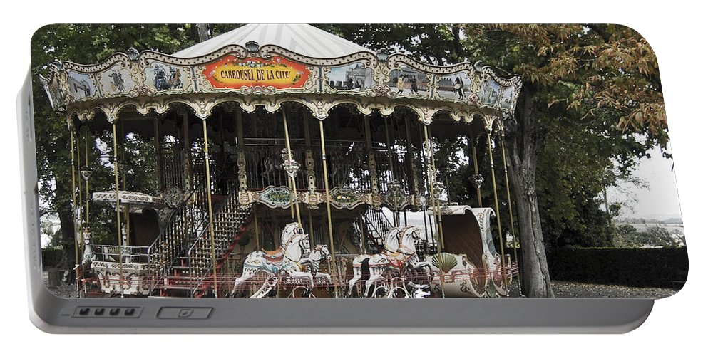 Carousel Portable Battery Charger featuring the photograph Carousel by Victoria Harrington