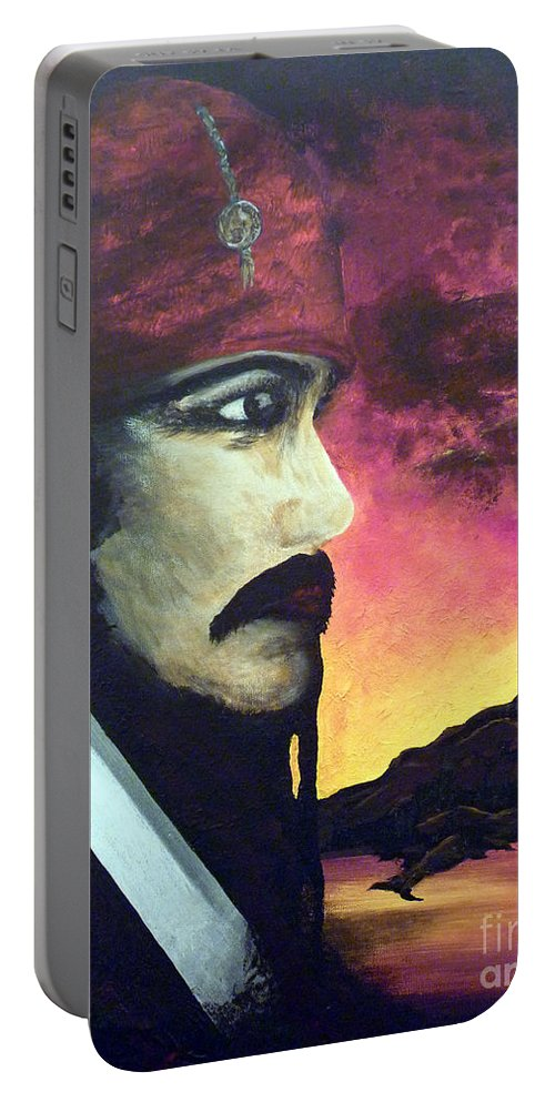 Night Portable Battery Charger featuring the painting Carribean Night by Alys Caviness-Gober