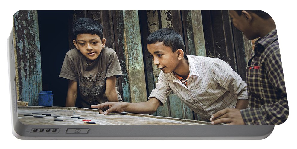 Valerie Rosen Portable Battery Charger featuring the photograph Carrom Boys by Valerie Rosen
