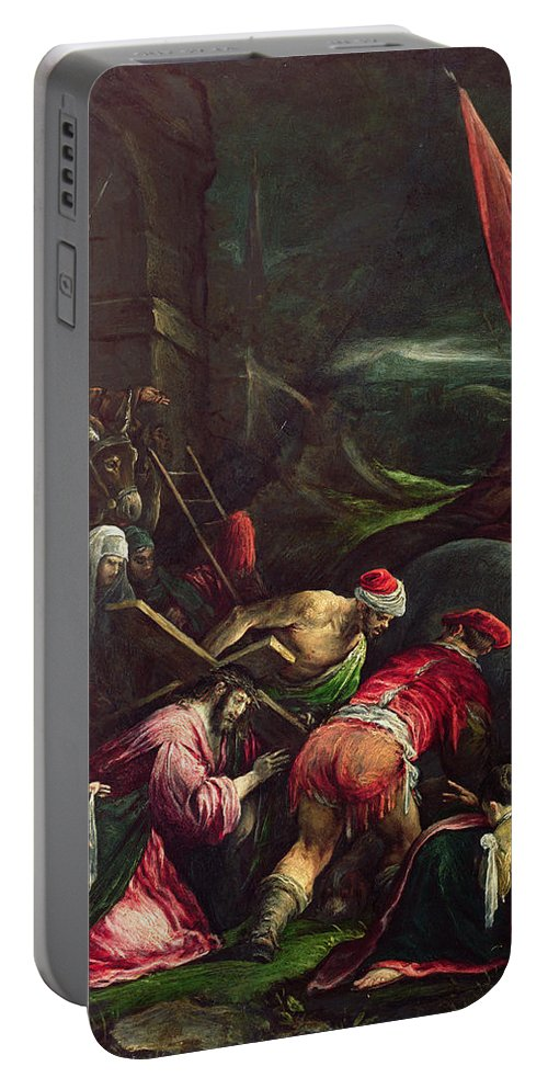 Son Of God Portable Battery Charger featuring the painting Carrying The Cross, 1592 by Gerolamo Bassano