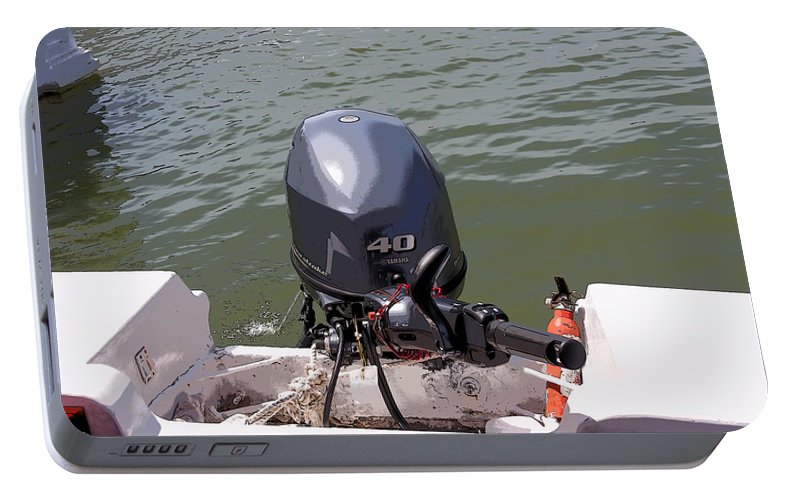 Cartoon - A Yamaha Outboard Motor Attached To A Boat In A Lake Portable  Battery Charger