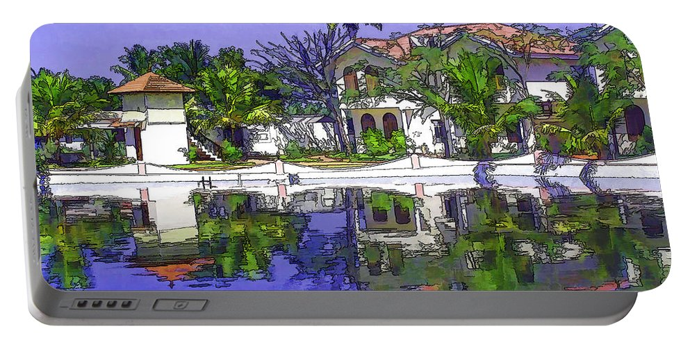 Alleppey Portable Battery Charger featuring the digital art Cartoon - Cottages And Lagoon Water by Ashish Agarwal