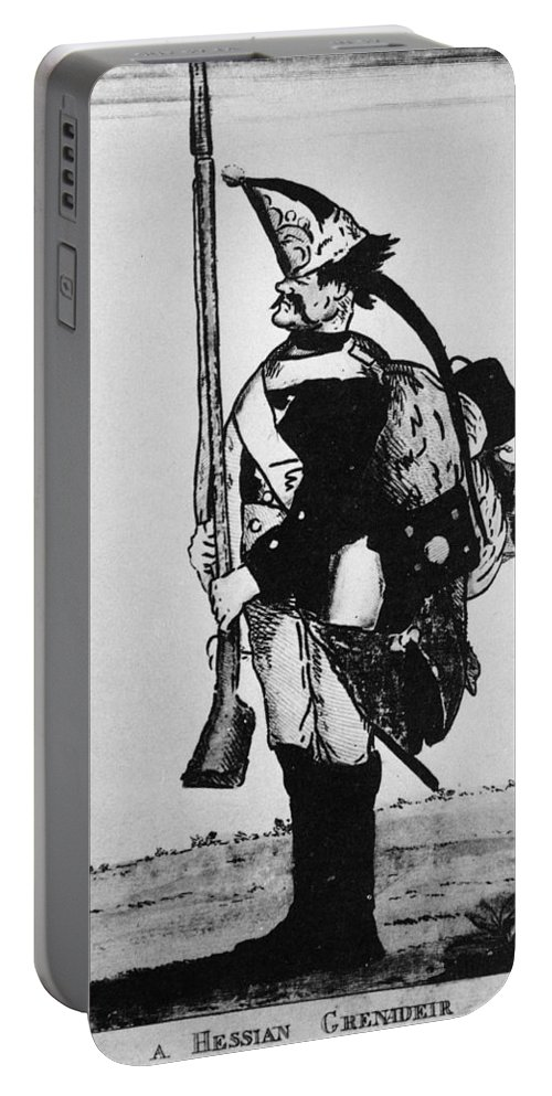 18th Century Portable Battery Charger featuring the photograph Cartoon: Hessian Soldier by Granger