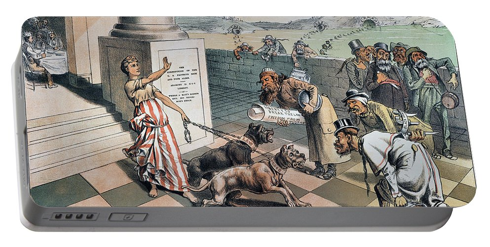 1885 Portable Battery Charger featuring the painting Cartoon Immigration, 1885 by Granger
