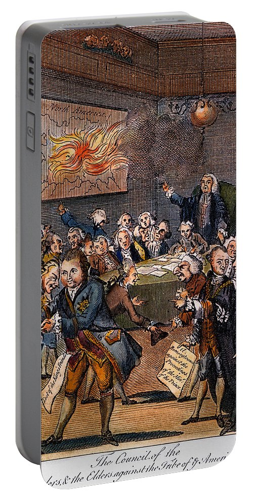 1770s Portable Battery Charger featuring the photograph Cartoon: Politicians by Granger
