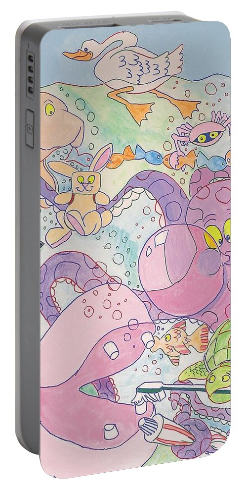 Swan Portable Battery Charger featuring the painting Cartoon Sea Creatures by Mike Jory