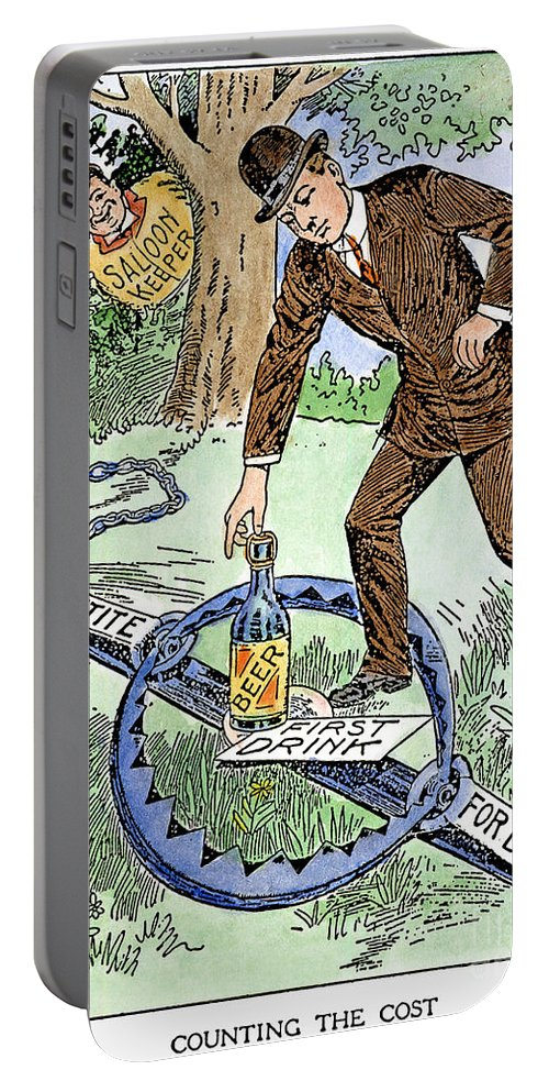 1915 Portable Battery Charger featuring the photograph Cartoon: Temperance, C1915 by Granger