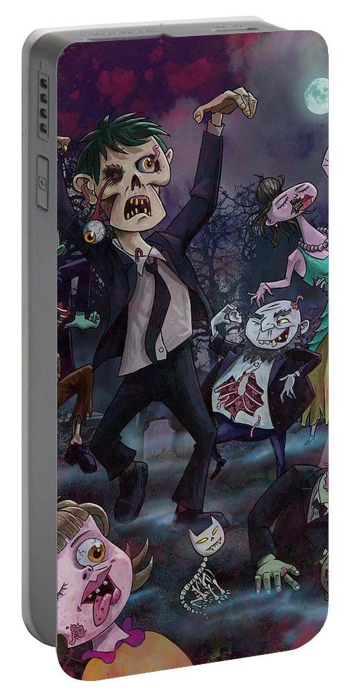 Zombie Portable Battery Charger featuring the digital art Cartoon Zombie Party by Martin Davey