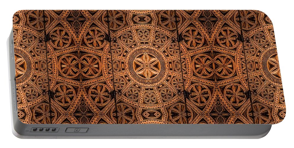Cabinet Portable Battery Charger featuring the photograph Carved Wooden Cabinet Symmetry by Hakon Soreide