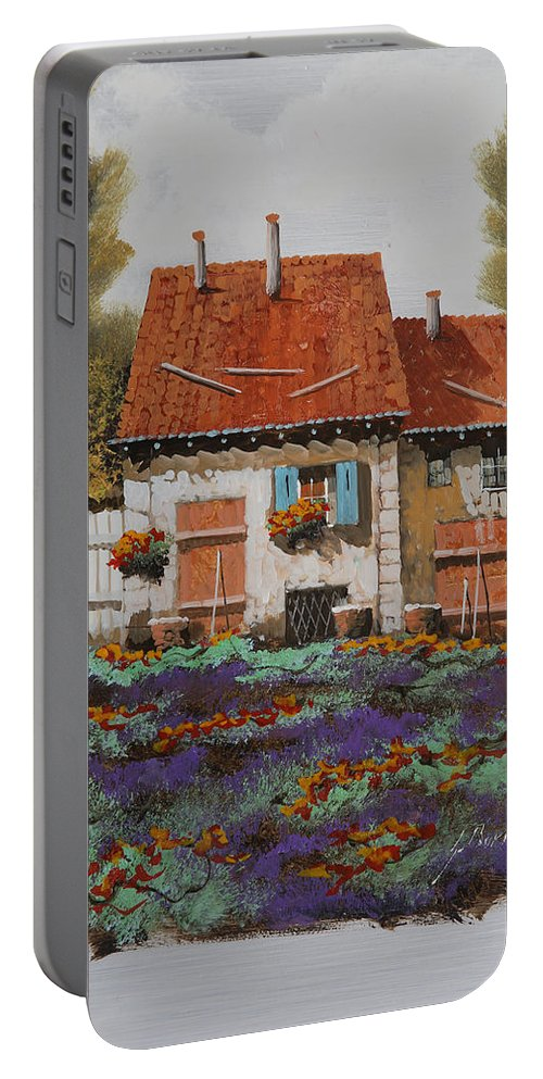 Country House Portable Battery Charger featuring the painting Case E Lavande by Guido Borelli