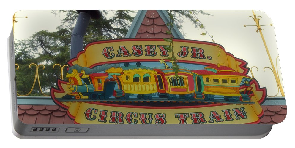 Disney Portable Battery Charger featuring the photograph Casey Jr Circus Train Fantasyland Signage Disneyland by Thomas Woolworth