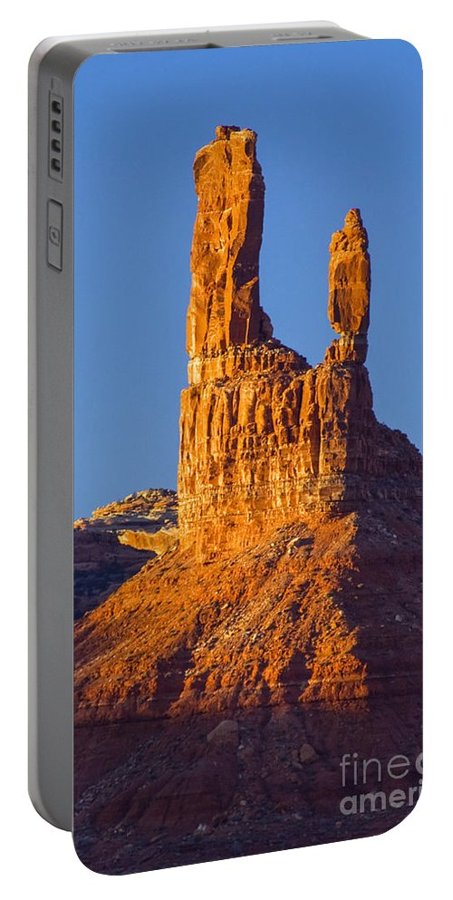Castle Butte Valley Of The Gods State Park Utah Parks Sunset Sunsets Landscape Landscapes Buttes Stone Monument Monuments Rock Formation Formations Portable Battery Charger featuring the photograph Castle Butte by Bob Phillips