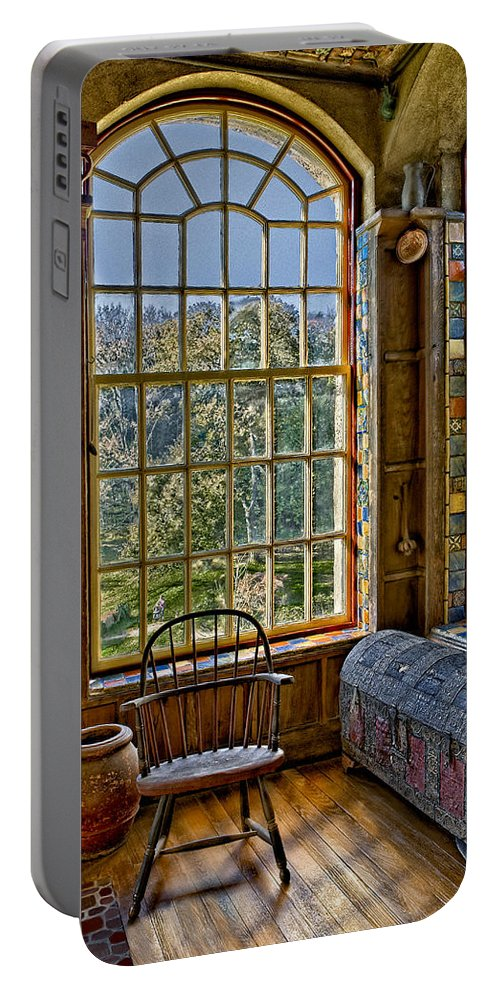 Byzantine Portable Battery Charger featuring the photograph Castle Office by Susan Candelario