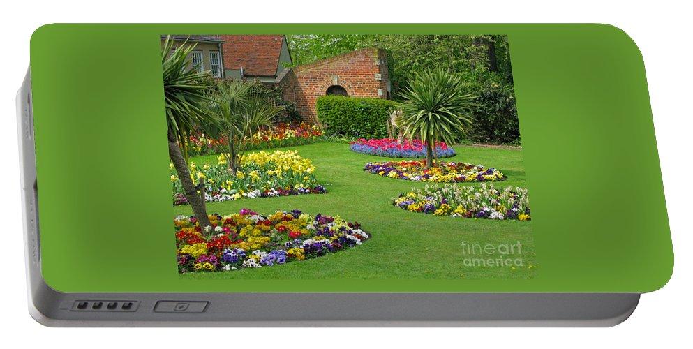 Garden Portable Battery Charger featuring the photograph Castle Park Gardens by Ann Horn