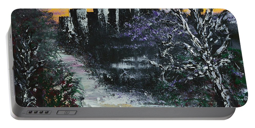 Glenveigh Portable Battery Charger featuring the painting Castle Ruins At Dawn by Alys Caviness-Gober