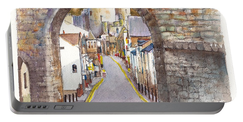 Landscape Portable Battery Charger featuring the painting Castle Street Conwy North Wales by Dai Wynn