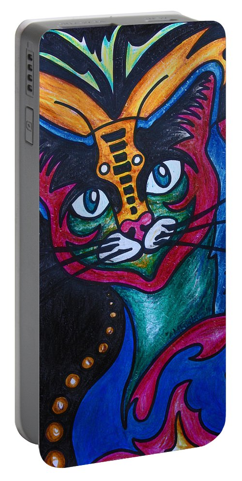 Cat Portable Battery Charger featuring the drawing Cat 2 by Carol Tsiatsios