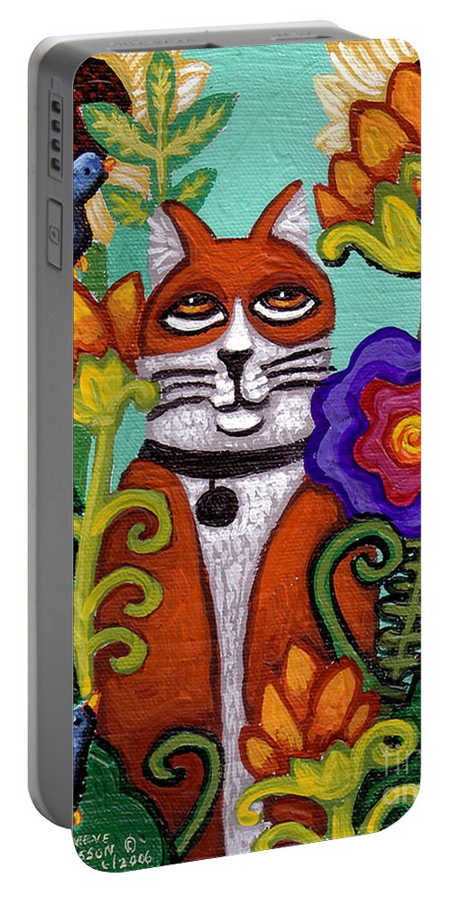 Cat Portable Battery Charger featuring the painting Cat And Four Birds by Genevieve Esson