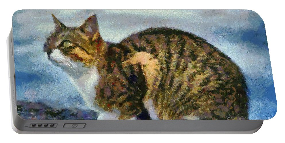 Cat; Cats; Feline; Tabby; Animal; Sit; Sitting; Rest; Resting; Free; Alone; Greece; Hellas; Greek; Hellenic; Crete; Islands; Holidays; Island; Vacation; Sea; Seaside; Yellow; Eyes; Red; White; Paint; Painting; Paintings Portable Battery Charger featuring the painting Cat By The Seaside by George Atsametakis