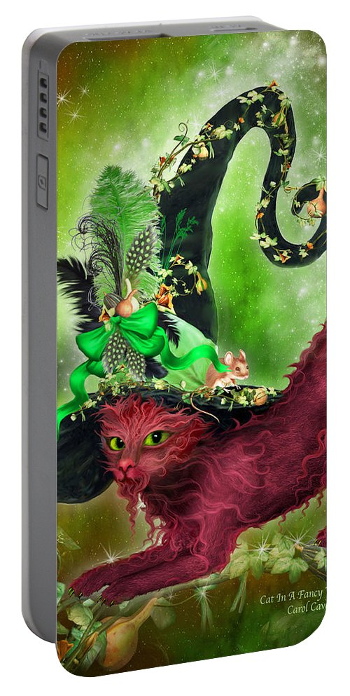 Cat Portable Battery Charger featuring the mixed media Cat In Fancy Witch Hat 2 by Carol Cavalaris