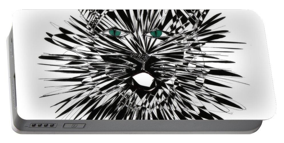 Cat Art Portable Battery Charger featuring the drawing Cat Iwan by Justyna JBJart