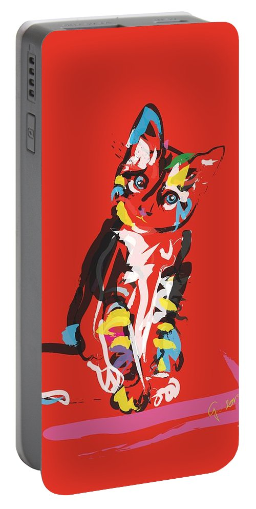 Pet Portable Battery Charger featuring the painting Cat Prins by Go Van Kampen