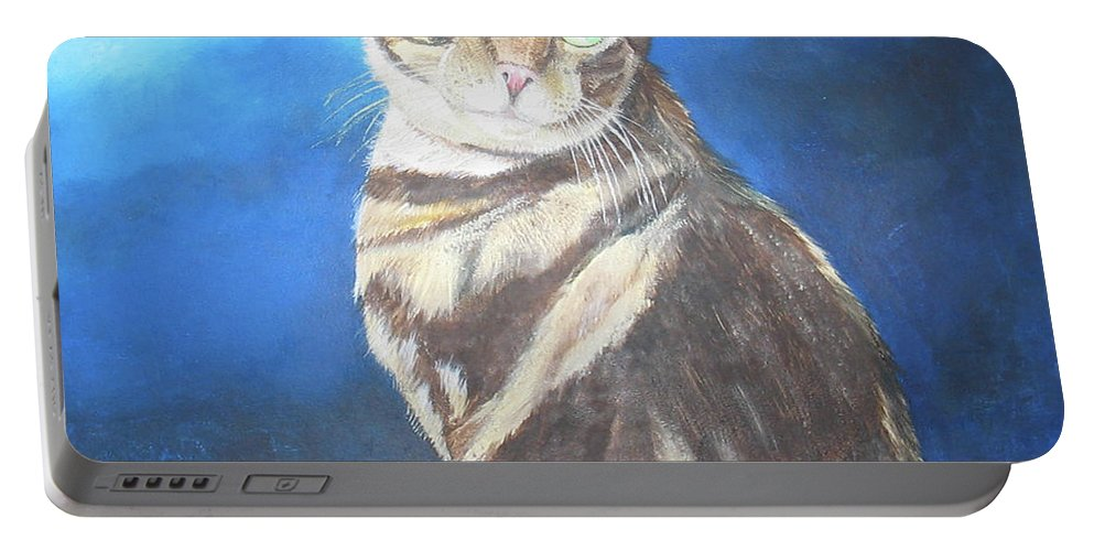 Persian Portable Battery Charger featuring the painting Cat Profile by Thomas J Herring