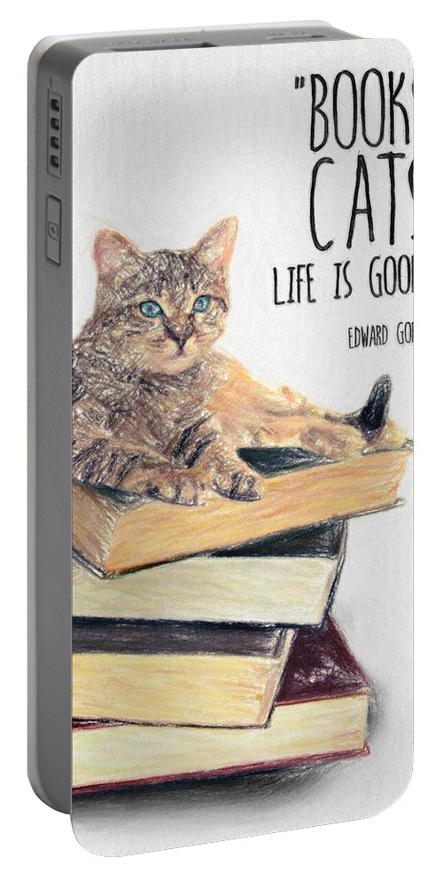 Edward Gorey Portable Battery Charger featuring the drawing Cat Quote By Edward Gorey by Zapista OU