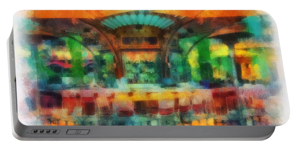 Disney Portable Battery Charger featuring the photograph Catal Outdoor Cafe Downtown Disneyland Photo Art 01 by Thomas Woolworth