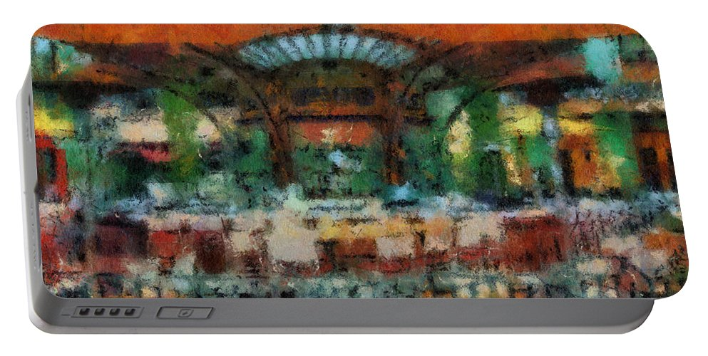 Disney Portable Battery Charger featuring the photograph Catal Outdoor Cafe Downtown Disneyland Photo Art 03 by Thomas Woolworth