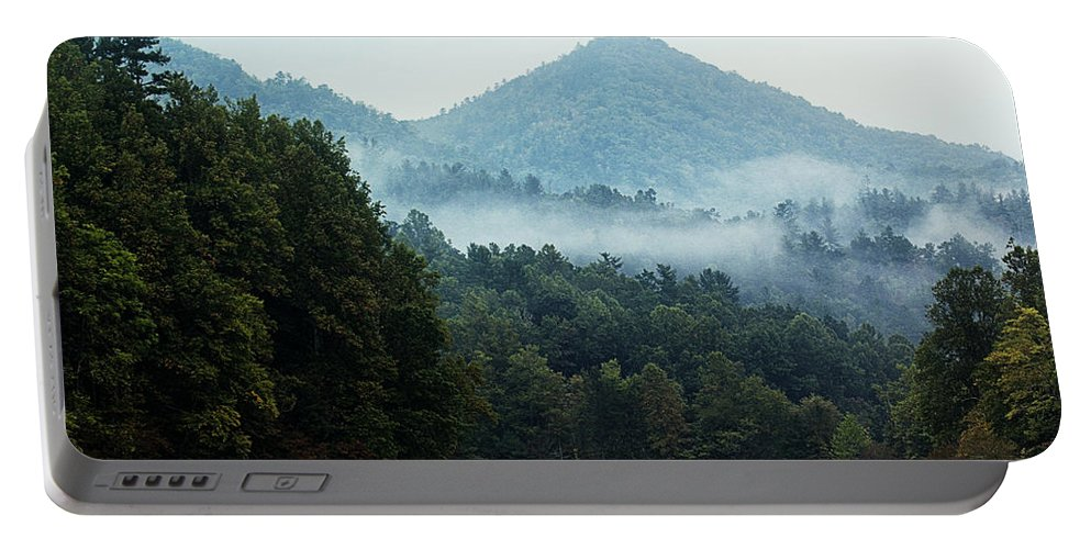 Foggy Valley Portable Battery Charger featuring the photograph Cataloochee Valley by Mel Hensley