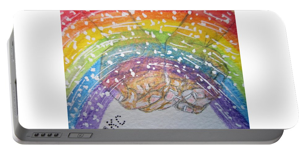Rainbow Portable Battery Charger featuring the painting Catching A Rainbbow by Kathy Marrs Chandler