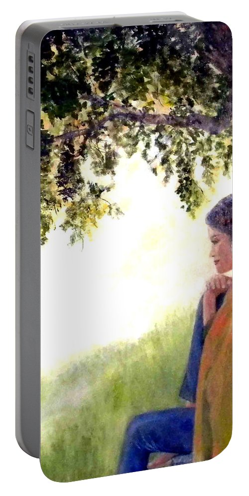 Peaceful Portable Battery Charger featuring the painting Catching The Spirit by Judie White