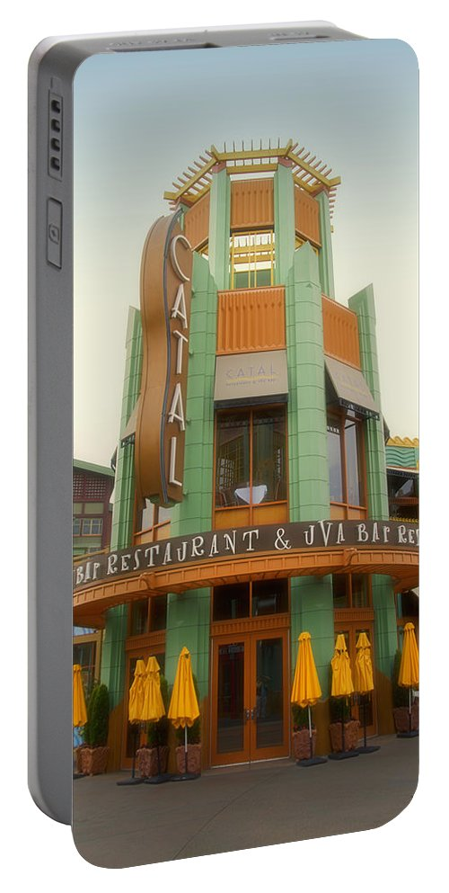 Disney Portable Battery Charger featuring the photograph Catel Restaurant Downtown Disneyland 01 by Thomas Woolworth