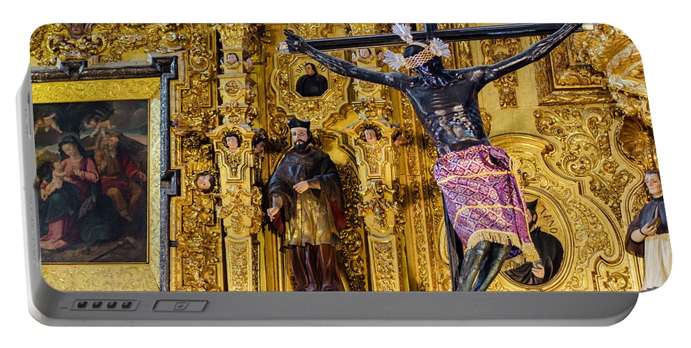Mexico Portable Battery Charger featuring the photograph Cathedral Interior by Jess Kraft