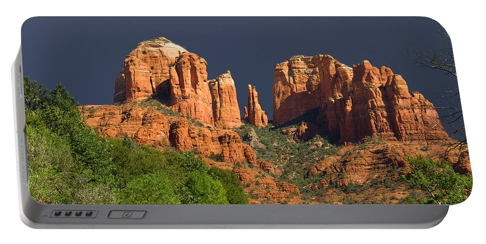 Red Rocks Portable Battery Charger featuring the photograph Cathedral Rock Before The Storm by Alexey Stiop