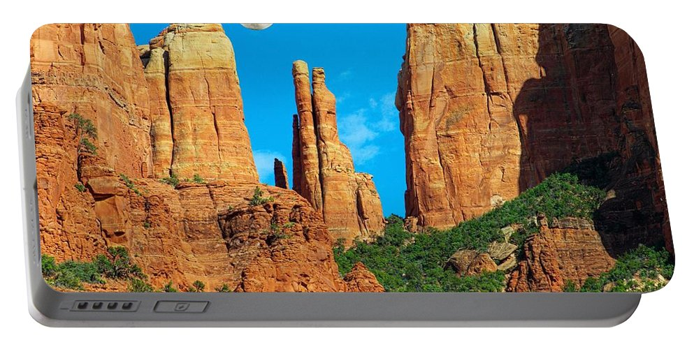 Arizona Portable Battery Charger featuring the photograph Cathedral Rock Moon by Steve Ondrus