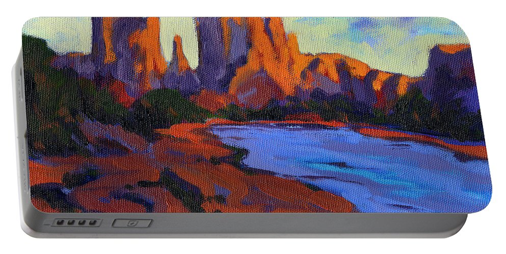 Arizona Portable Battery Charger featuring the painting Cathedral Rock by Konnie Kim