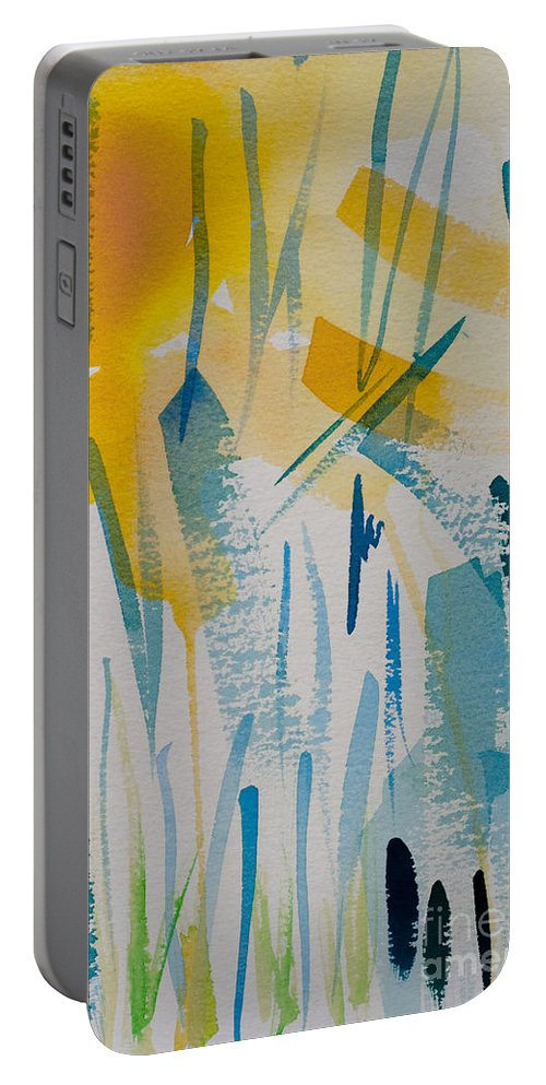 Abstract Portable Battery Charger featuring the painting Cattail Sun by Barbara McMahon