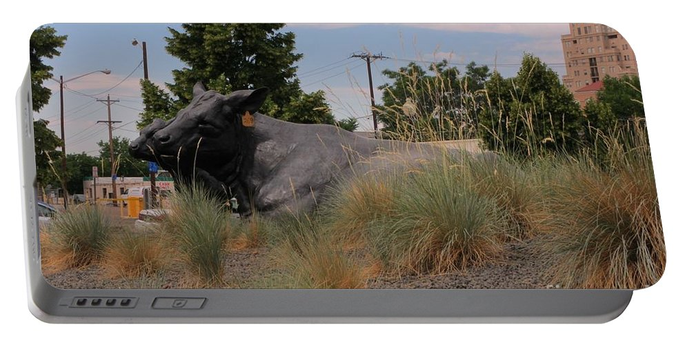 Cattle In Downtown Denver Portable Battery Charger featuring the photograph Cattle In Downtown Denver by John Malone