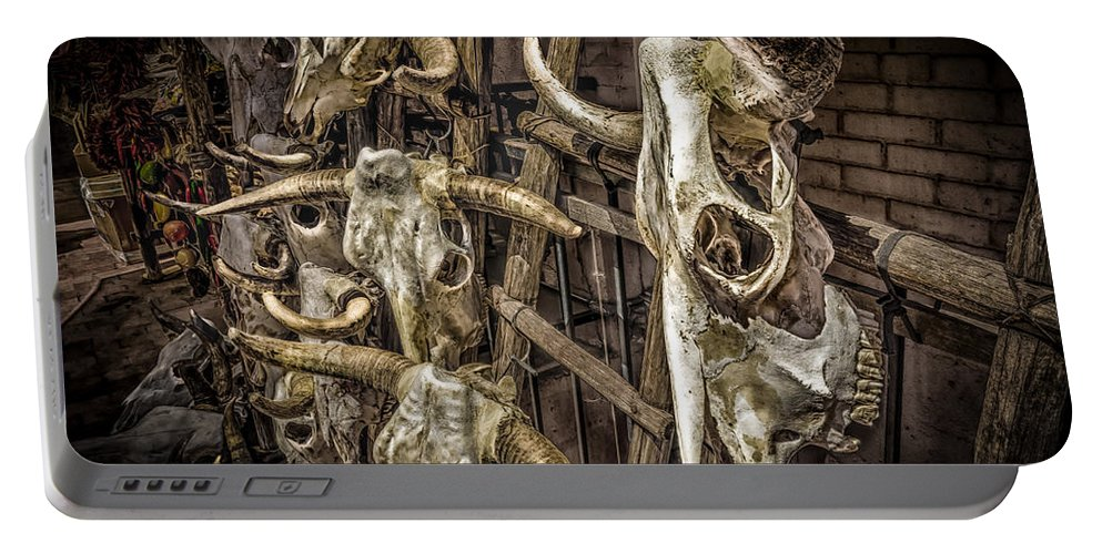 Skulls Portable Battery Charger featuring the photograph Cattle Skulls On Display In Santa Fe by Gareth Burge Photography