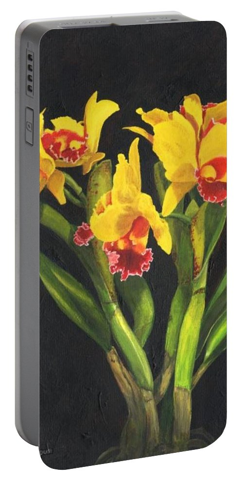 Flower Portable Battery Charger featuring the painting Cattleya Orchid by Richard Harpum
