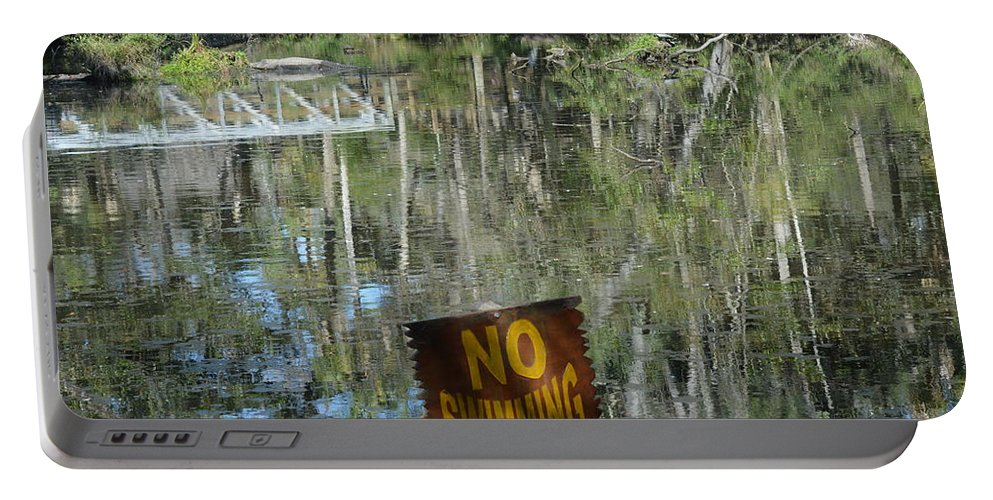 Alligator Portable Battery Charger featuring the photograph Caution Gators by Linda Kerkau