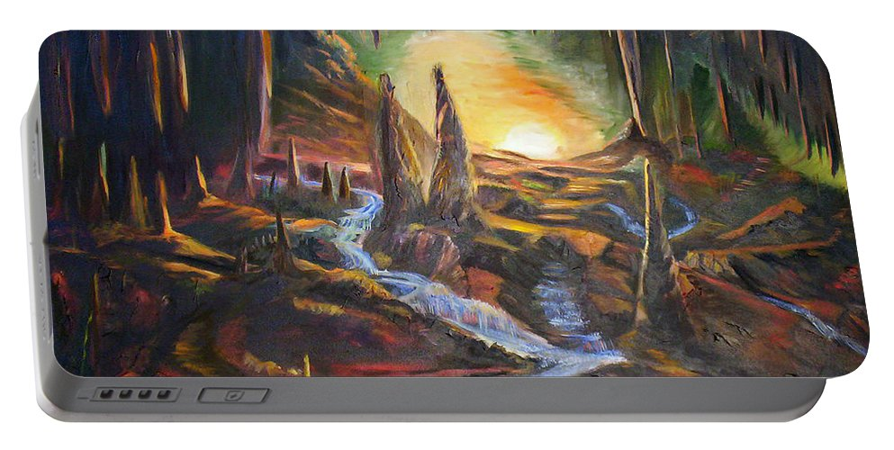 Rock Portable Battery Charger featuring the painting Cave Dwellers by Sue Stake