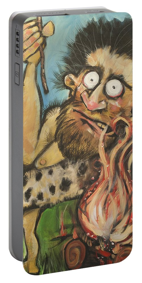 Steak Portable Battery Charger featuring the painting Caveman And Fire by Tim Nyberg