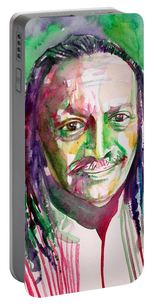 Cecil Portable Battery Charger featuring the painting Cecil Taylor - Watercolor Portrait by Fabrizio Cassetta